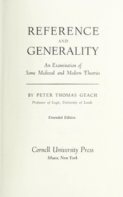 Cover of: Reference and generality | P. T. Geach
