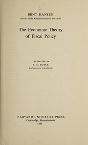 Cover of: The economic theory of fiscal policy