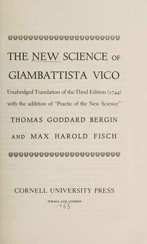 The new science of Giambattista Vico by Giambattista Vico