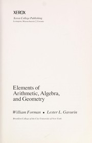 Cover of: Elements of arithmetic, algebra, and geometry | William Forman