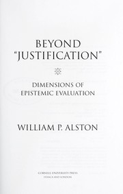 Cover of: Beyond justification | William P. Alston