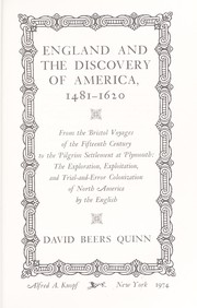 Cover of: England and the discovery of America, 1481-1620