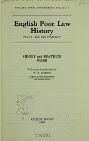 Cover of: English poor law history