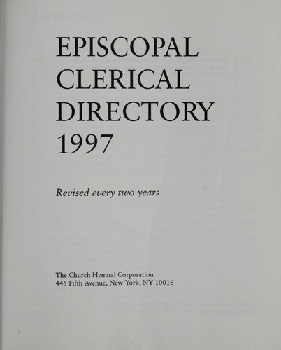 Episcopal Clerical Directory 1997 (Episcopal Clerical Directory) by