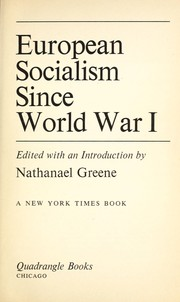 Cover of: European socialism since World War I | Greene, Nathanael