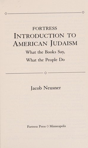 Fortress introduction to American Judaism by Jacob Neusner