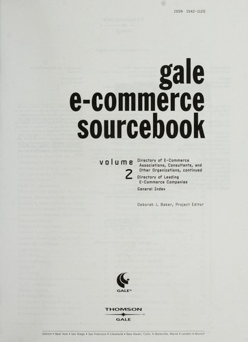 Gale e-commerce sourcebook by Deborah J. Baker, project editor.