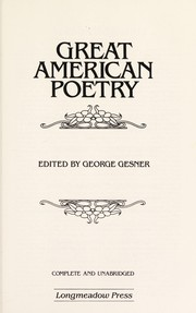 Cover of: Great American poetry | edited by George Gesner.