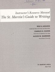 Cover of: Instructor's resource manual, the St. Martin's guide to writing, fourth edition