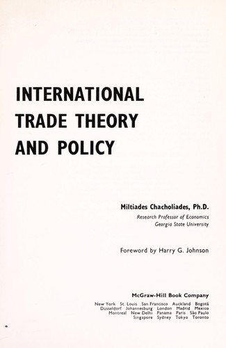 International trade theory and policy by Miltiades Chacholiades