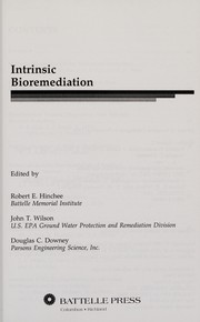Cover of: Intrinsic bioremediation |