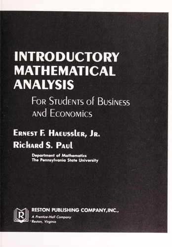 Introductory mathematical analysis for students of business and