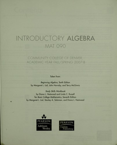 Introductory algebra by Margaret L. Lial