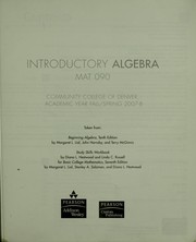 Cover of: Introductory algebra | Margaret L. Lial