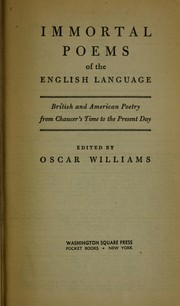 Cover of: Immortal poems of the English language | Oscar Williams