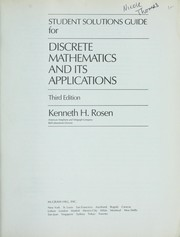 Cover of: Student solutions guide for Discrete mathematics and its applications | Kenneth H. Rosen