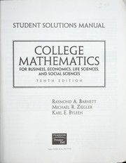 Cover of: College mathematics for business, economics, life sciences, and social sciences | Raymond A. Barnett