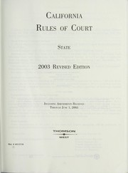 Cover of: California rules of court |