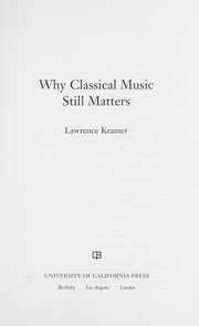 Cover of: Why classical music still matters