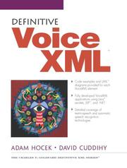Cover of: Definitive VoiceXML | Adam Hocek