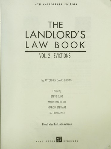 The Landlord's Law Book by David Brown