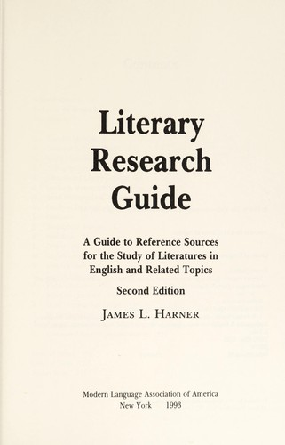 Literary research guide by James L. Harner