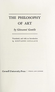 Cover of: Filosofia dell'arte: Translated, and with an introd. by Giovanni Gullace.