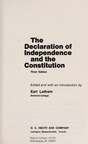 Cover of: The Declaration of Independence and the Constitution | Earl Latham