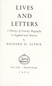 Cover of: Lives and letters