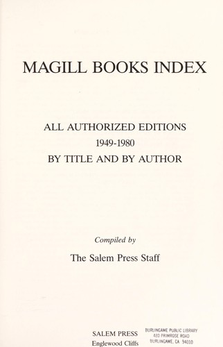 Magill books index by compiled by the Salem Press Staff.