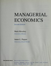 Cover of: Managerial economics | Mark Hirschey