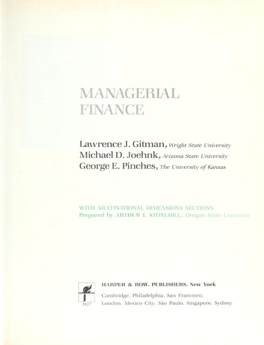 Managerial finance by Gitman, Lawrence J.