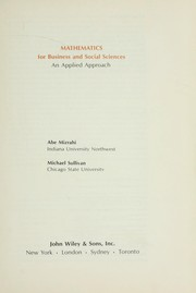 Cover of: Mathematics for business and social sciences : an applied approach