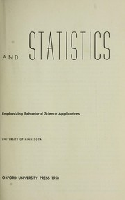 Cover of: Measurement and statistics; a basic text emphasizing behavioral science applications | Senders, Virginia L