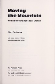 Cover of: Moving the mountain : women working for social change | Ellen Cantarow