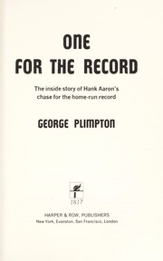 Cover of: One for the record | George Plimpton