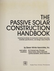 Cover of: The passive solar construction handbook | M. Emanuel Levy