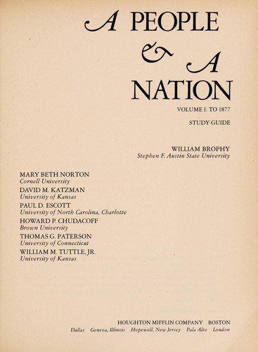 A people & a nation by William Brophy