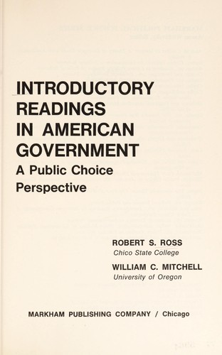 Introductory readings in American Government by Ross, Robert S.