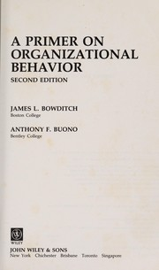 Cover of: A primer on organizational behaviour