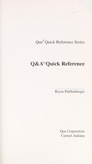 Cover of: Q&A quick reference