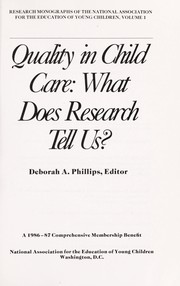 Cover of: Quality in child care |