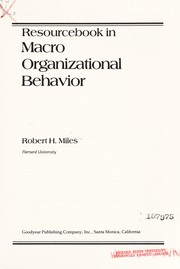 Cover of: Resourcebook in macro organizational behavior
