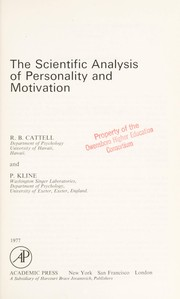 Cover of: The scientific analysis of personality and motivation