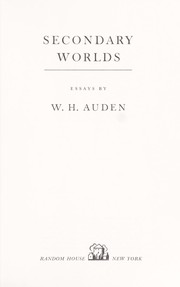 Cover of: Secondary worlds