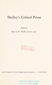 Cover of: Shelley's critical prose
