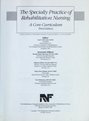 Speciality Practice of Rehabilitation Nursing by