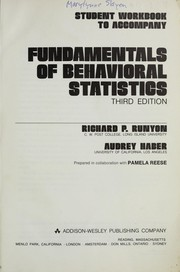 Cover of: Student workbook to accompany Fundamentals of behavioral statistics | Richard P. Runyon