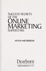 Cover of: Success secrets of the online marketing superstars | Mitch Meyerson