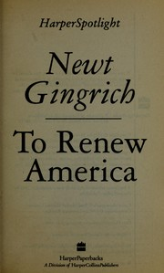 Cover of: To renew America